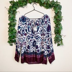 NWT LUCKY BRAND PRINTED POP OVER BLOUSE